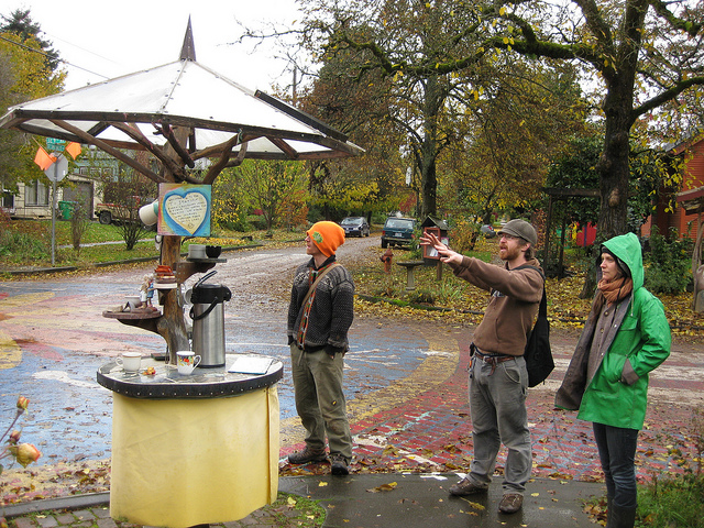 Public Tea Kiosk at Intersection Repair