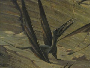 detail of a pterodactyl from a mural at the AMNH